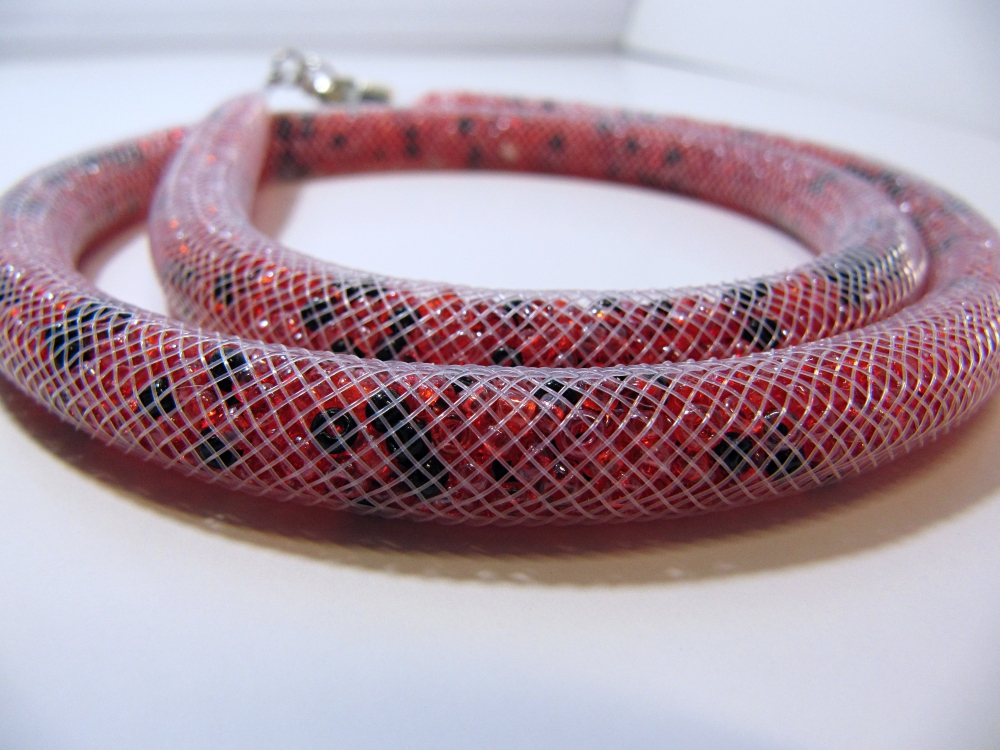 "Beaded rope necklace ""Flame"" (1) - 1"