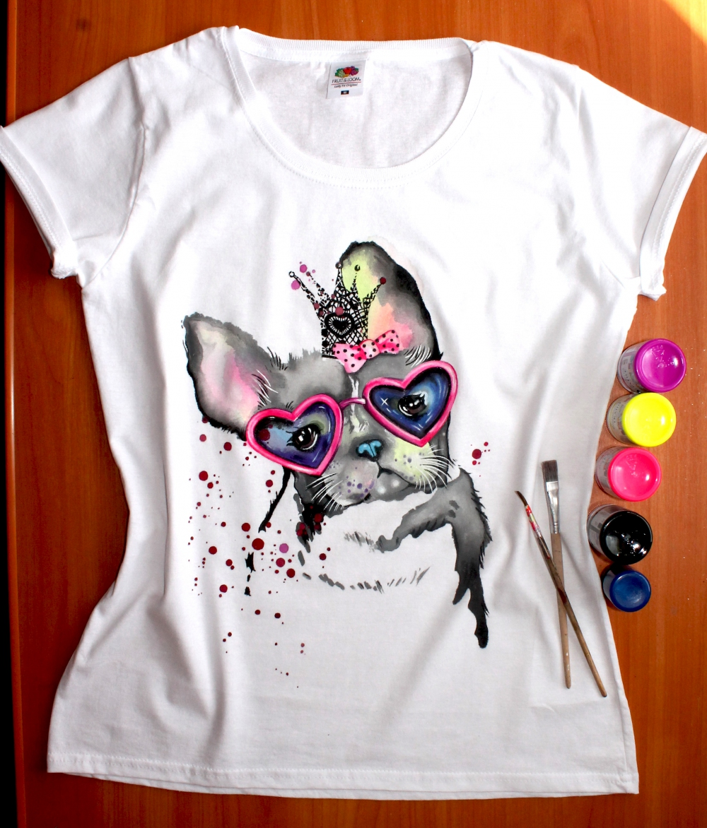 "Hand painted T-shirt for women ""French bulldog"" (1) - 554"