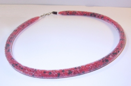 "Beaded rope necklace ""Flame"" (1)"
